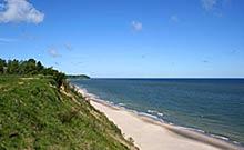 Chłapowo - widok z Chłapowskiego Klifu na Bałtyk i przylądek Rozewie